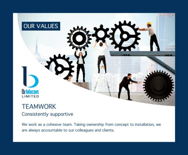 our values  - team work - consistently supportive